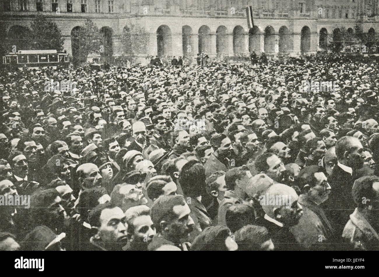 Declaration of Hungarian republic 1918 - Stock Image