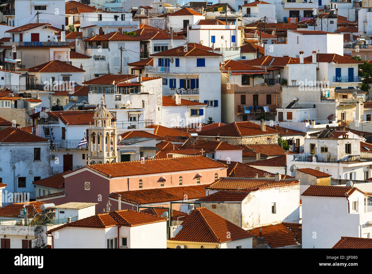 View of the old town on Skiathos island, Greece. - Stock Image