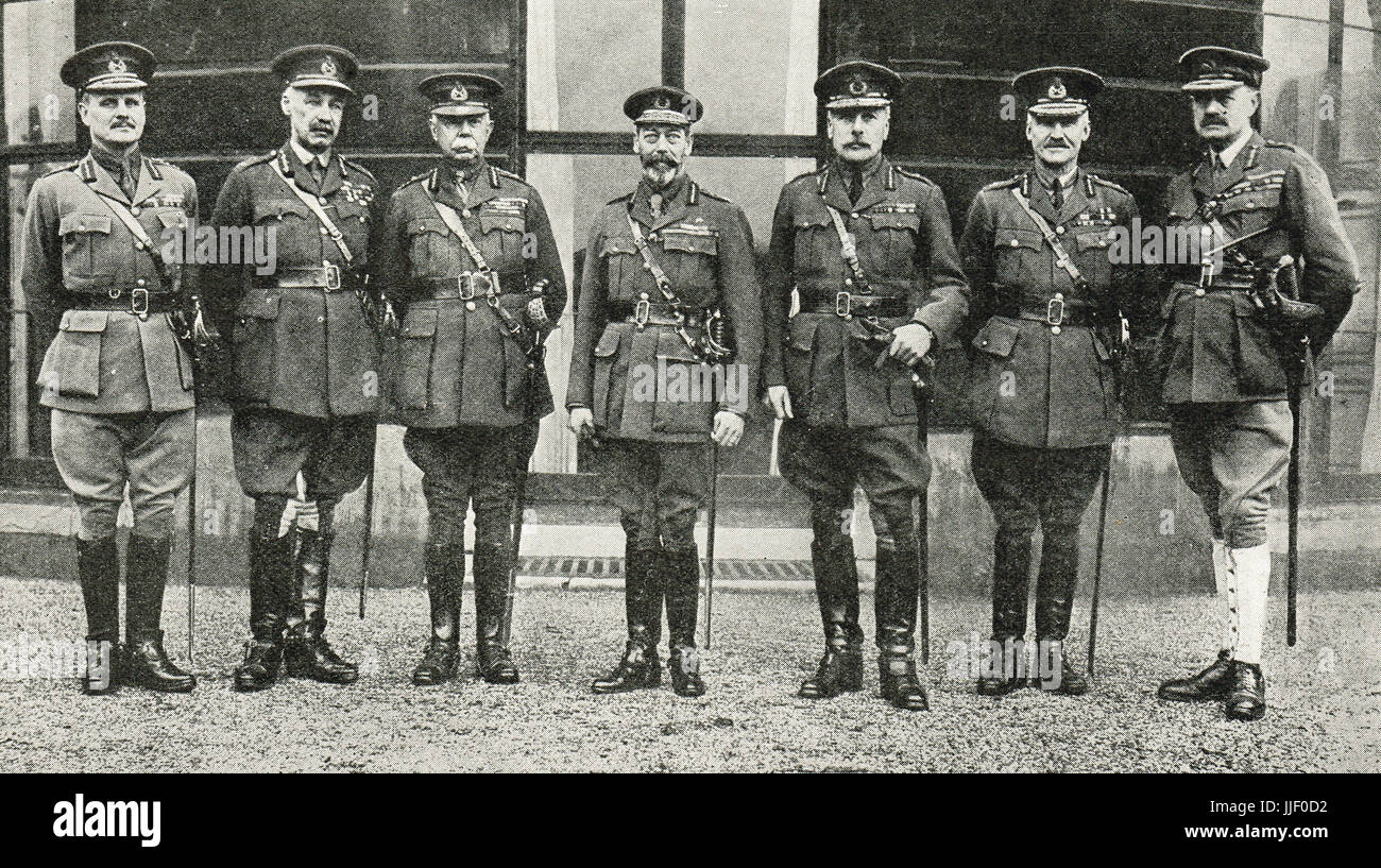 King George V & army leaders, December 1918 - Stock Image