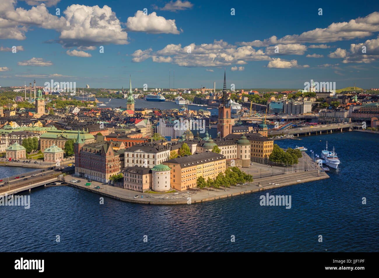 Stockholm. Aerial image of old town Stockholm, Sweden during during sunny day. - Stock Image