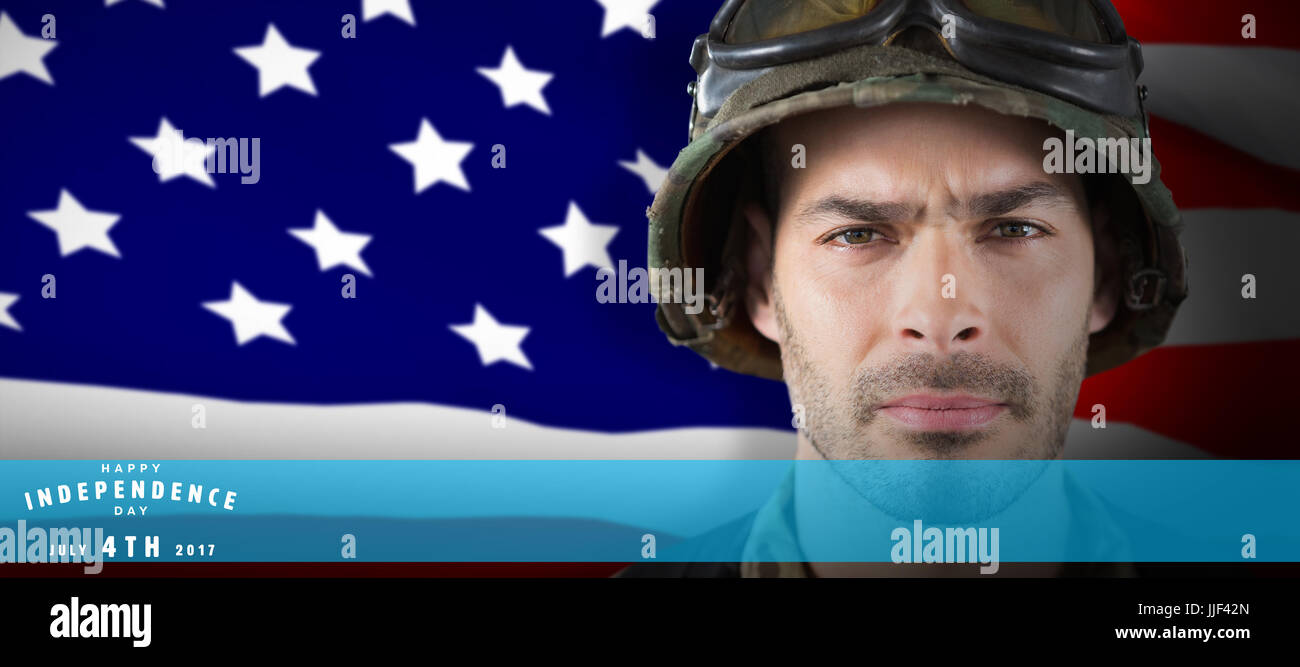 Close up of unsmiling soldier against highly detailed 3d render of an american flag - Stock Image