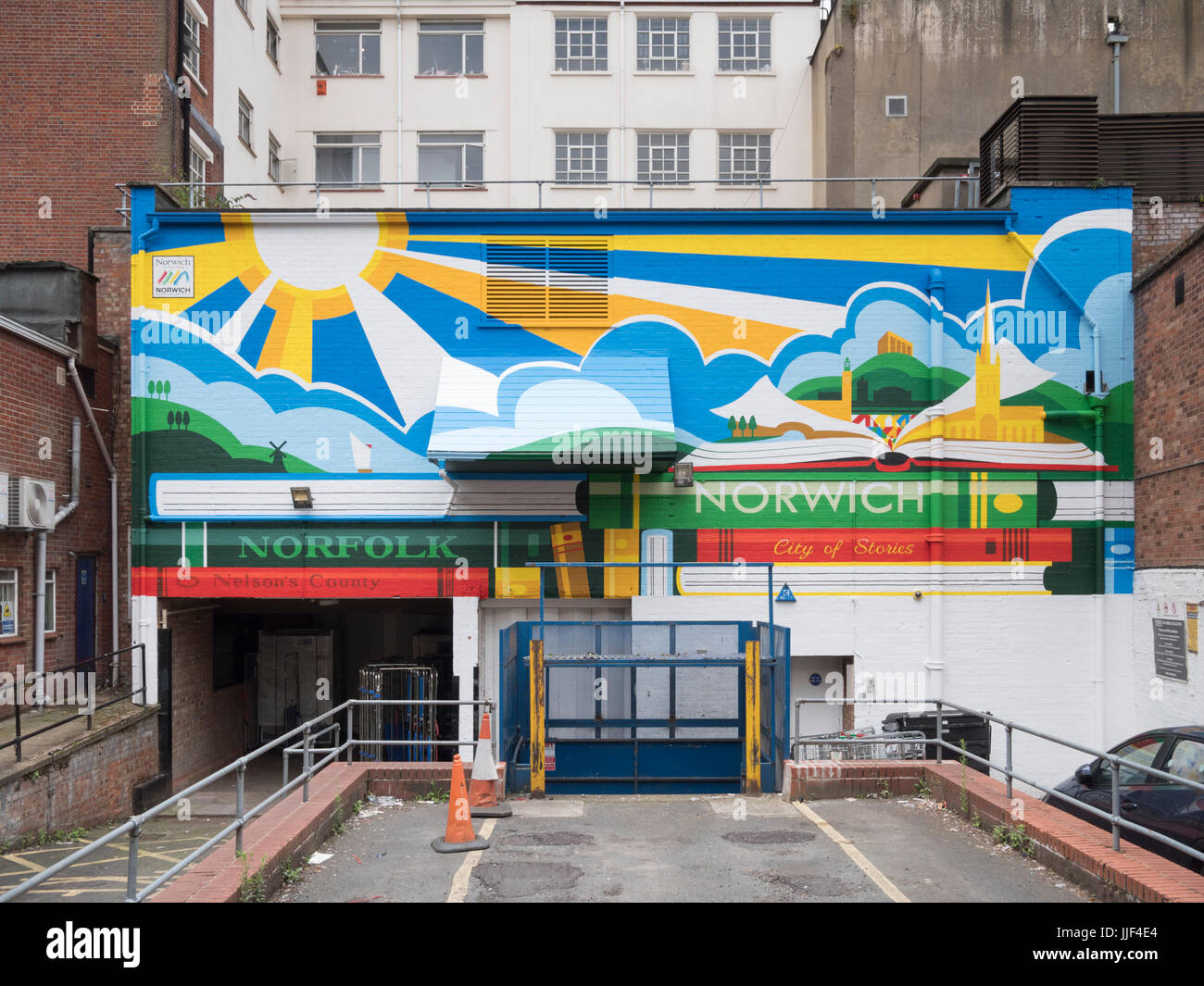 A colourful mural or wall art on a building in the city of Norich Norfolk UK - Stock Image