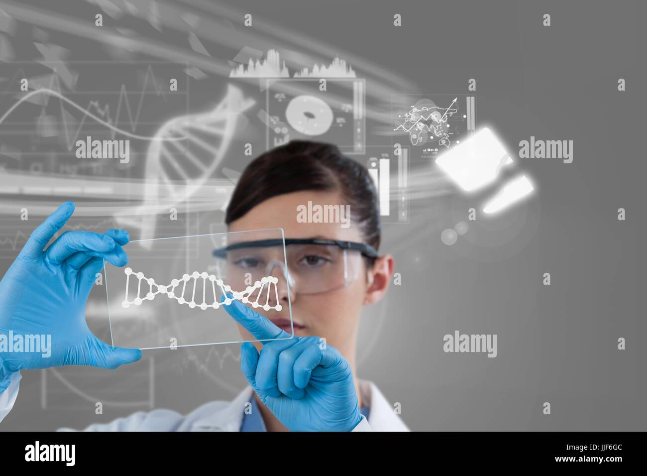 Digital composite of Medical models with DNA graphics - Stock Image