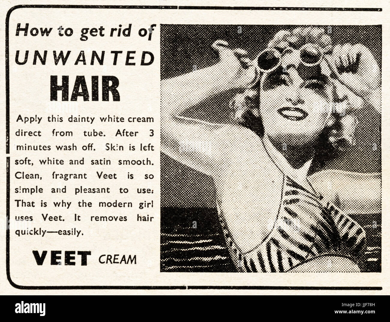 1940s original old vintage advertisement advertising Veet hair removal cream in magazine circa 1946 when supplies - Stock Image