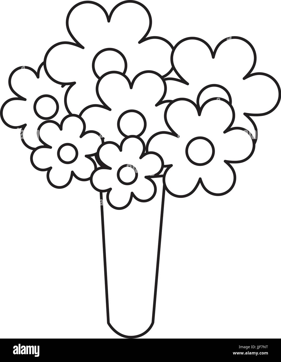 Bouquet Spring Flowers Cartoon Icon Black And White Stock Photos