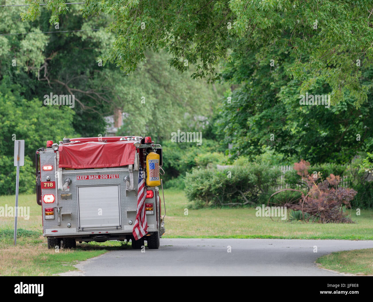 the rear of a sag harbor fire department truck at havens beach in sag harbor, ny - Stock Image
