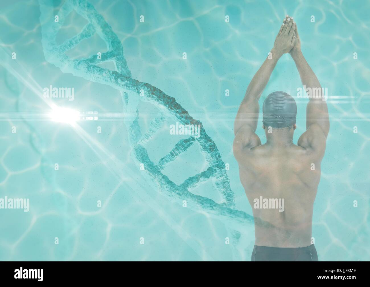 Digital composite of swimmer in swimming pool with a dna chain and pool superposition - Stock Image