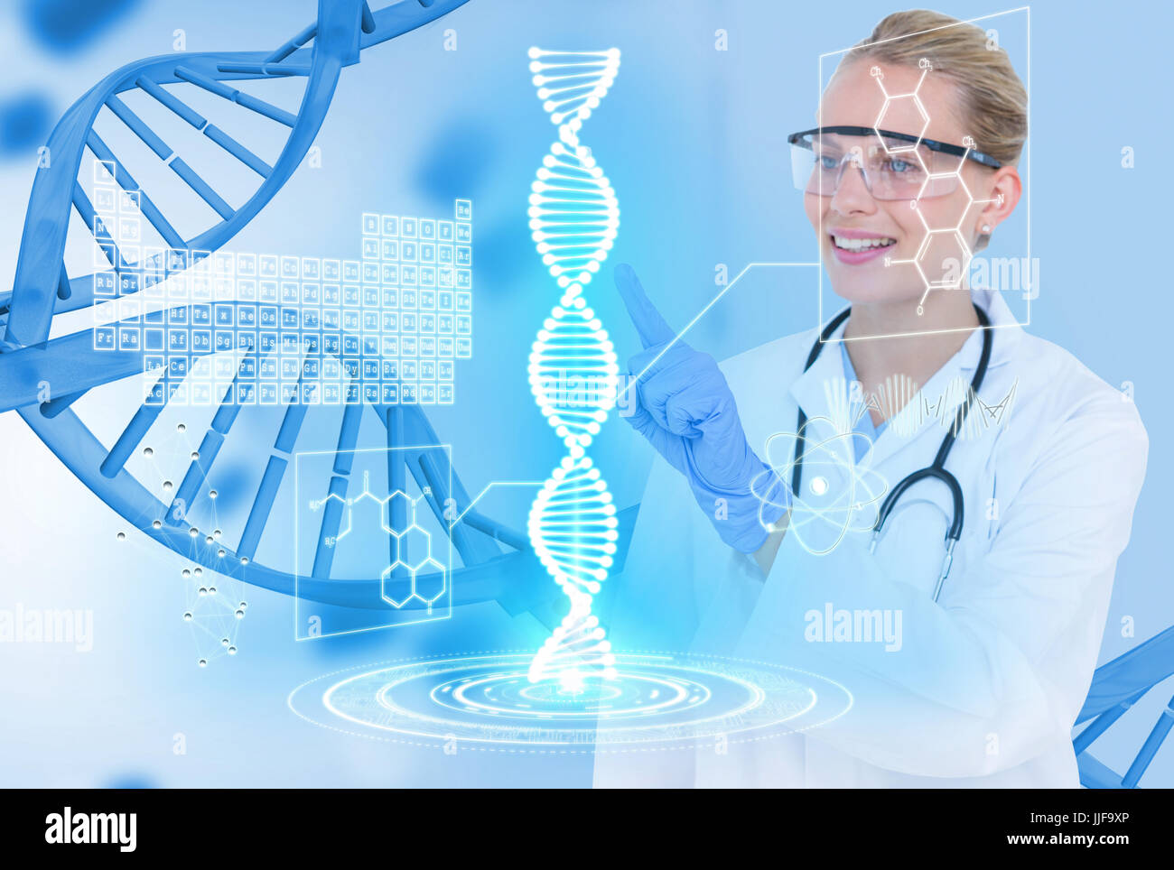 Digital composite of Medical models with DNA graphics or backgrounds - Stock Image
