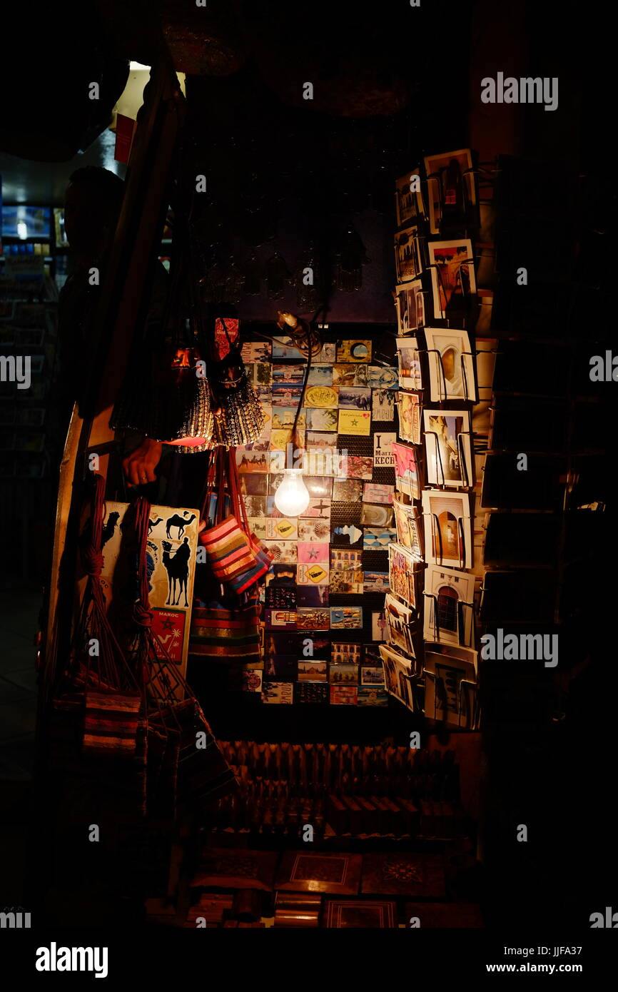 postcards at night, Marrakech, Morocco, - Stock Image