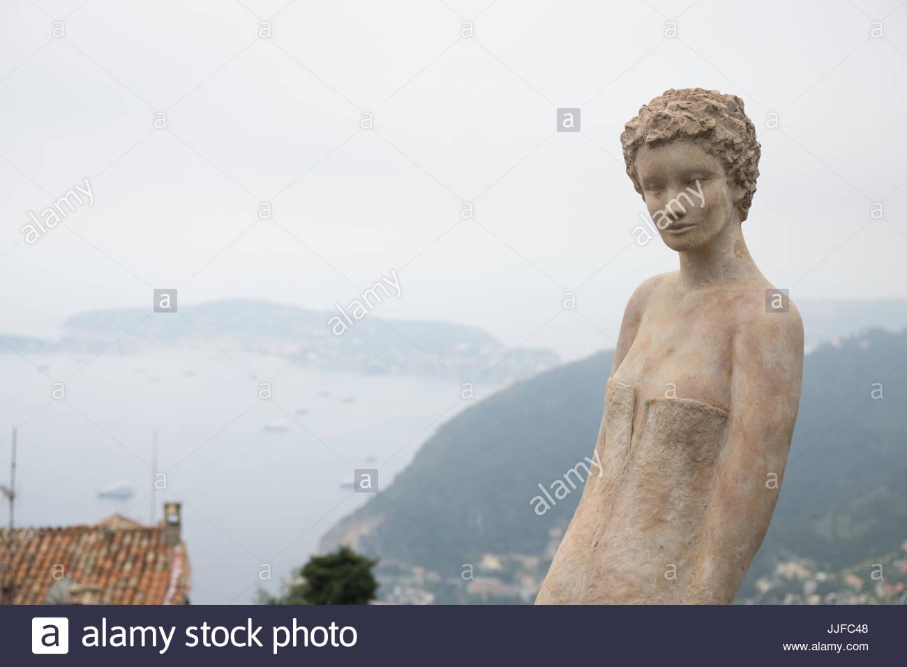 Eze gardens and Saint Jean Cap Ferrat - Stock Image