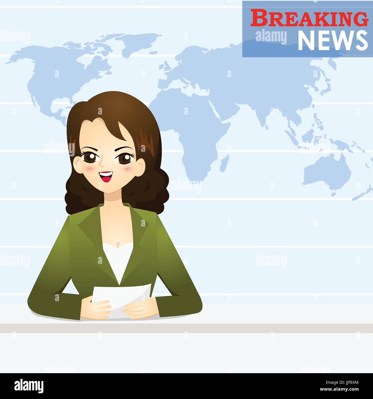 News announcer telling news in studio - vector illustration - Stock Image