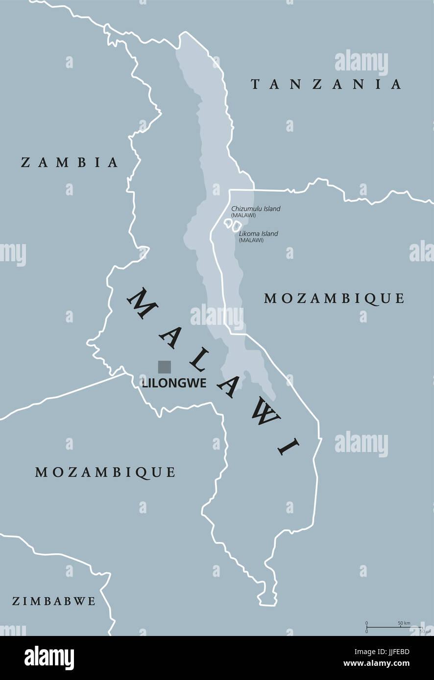 Lake Malawi Africa Map.Malawi Political Map With Capital Lilongwe Republic Landlocked