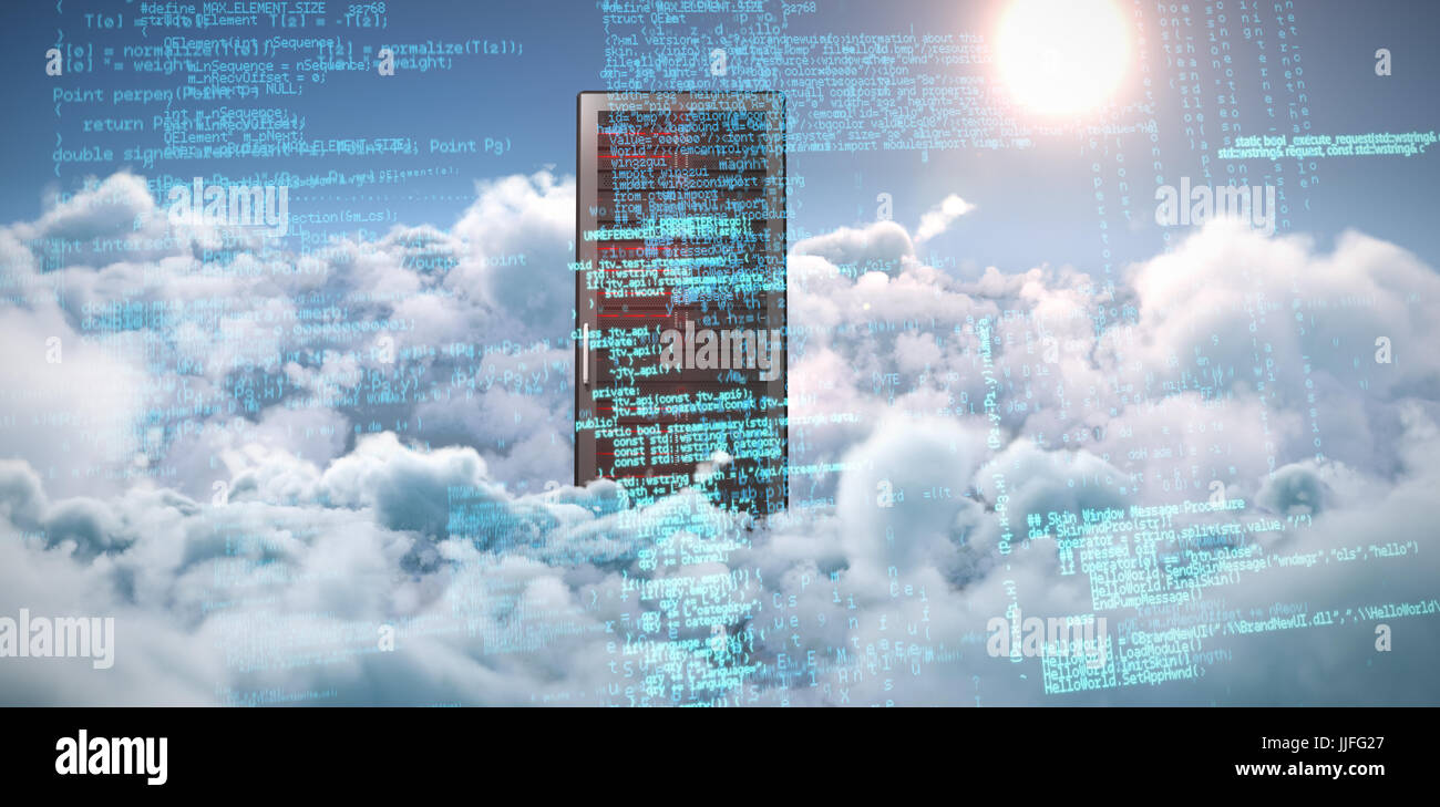Composite image of binary codes against idyllic view of bright sun over clouds during sunny day - Stock Image