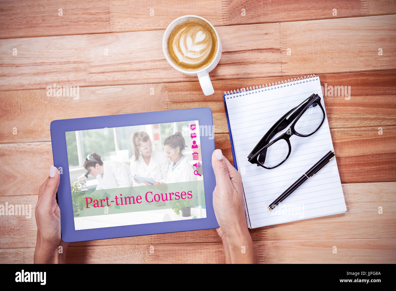Composite image of part-time courses against overhead of feminine hands using tablet - Stock Image