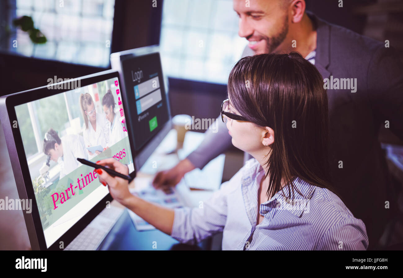 Composite image of part-time courses against female photo editor discussing over computer with male colleague - Stock Image