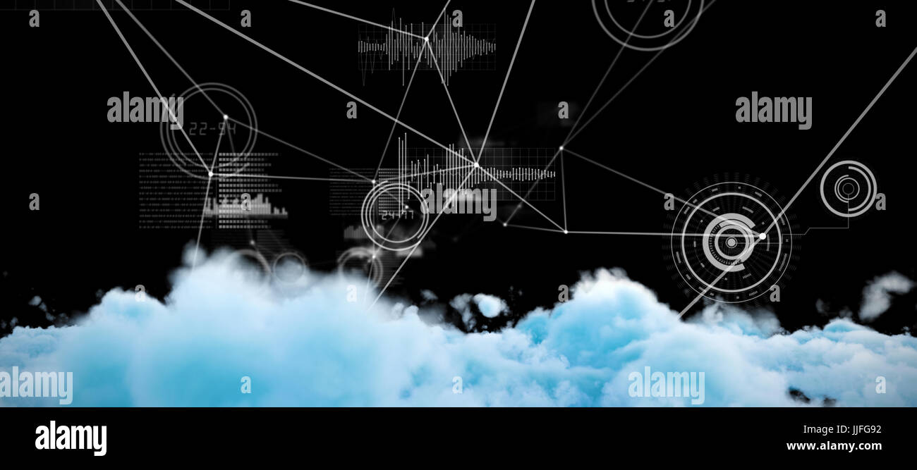 Digitally generated image of fluffy clouds  against various graphs and connectivity points - Stock Image