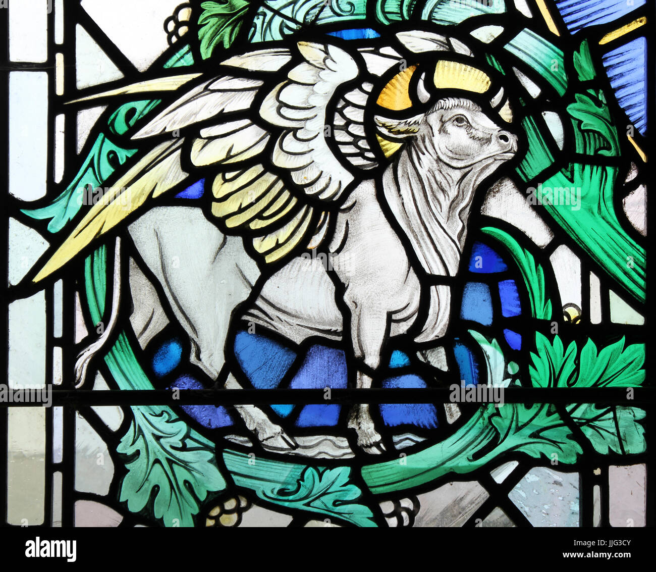 Winged Bull Stained Glass One Of The Four Apocalyptic Beasts Or