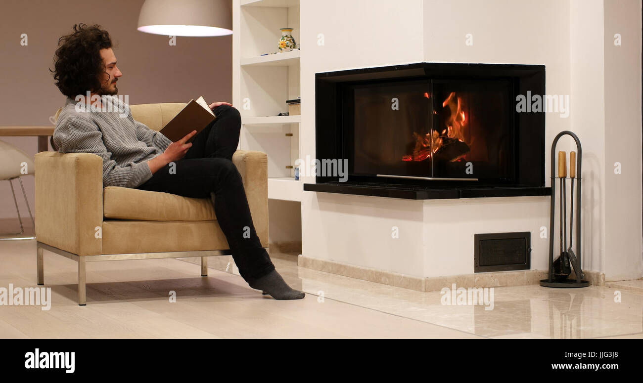 Chair Fire Fireplace Front Stock Photos Chair Fire Fireplace Front