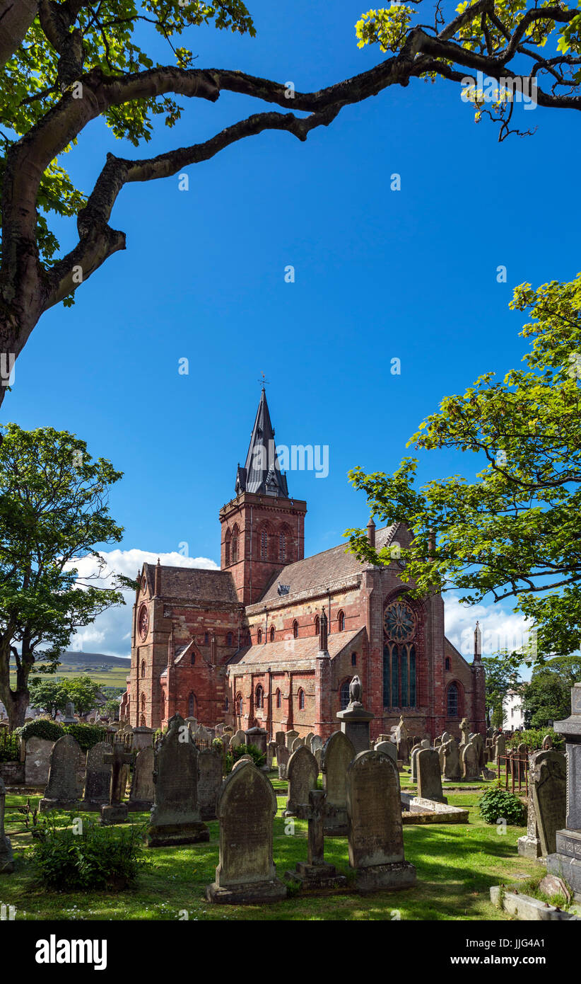 St Magnus Cathedral, Kirkwall, Mainland, Orkney, Orkney Islands, Scotland, UK - Stock Image