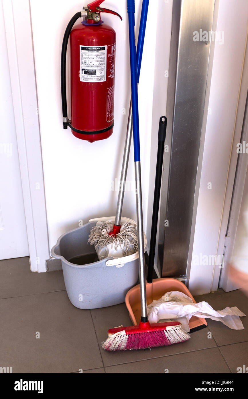 Cleaners equipment. Greece - Stock Image