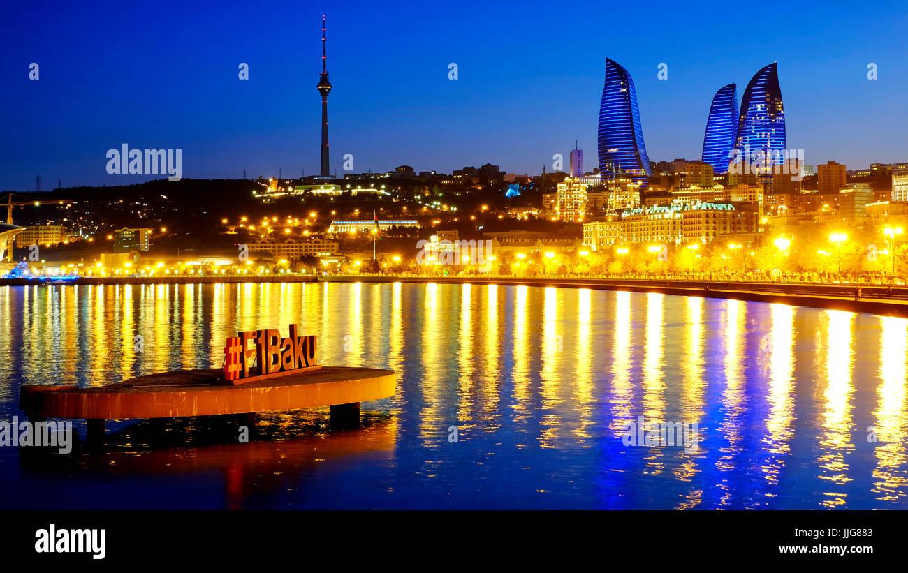 Formula 1 sign in the Bay of Baku, Baku, Azerbaijan - Stock Image
