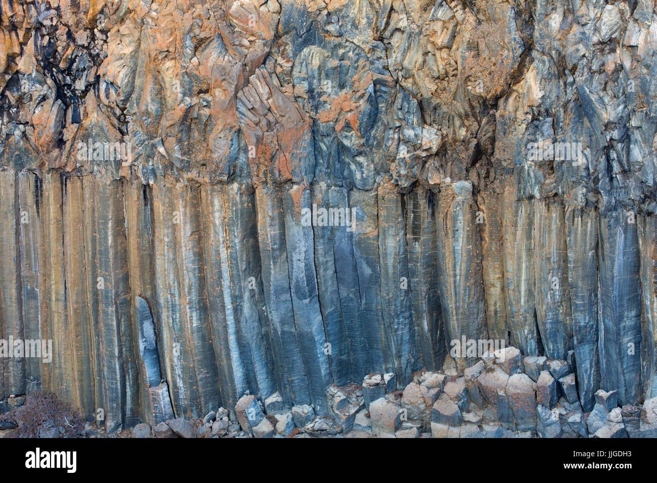 Basalt columns, volcanic lava formations in cliff along the Skjálfandafljót River, Nordurland eystra, - Stock Image