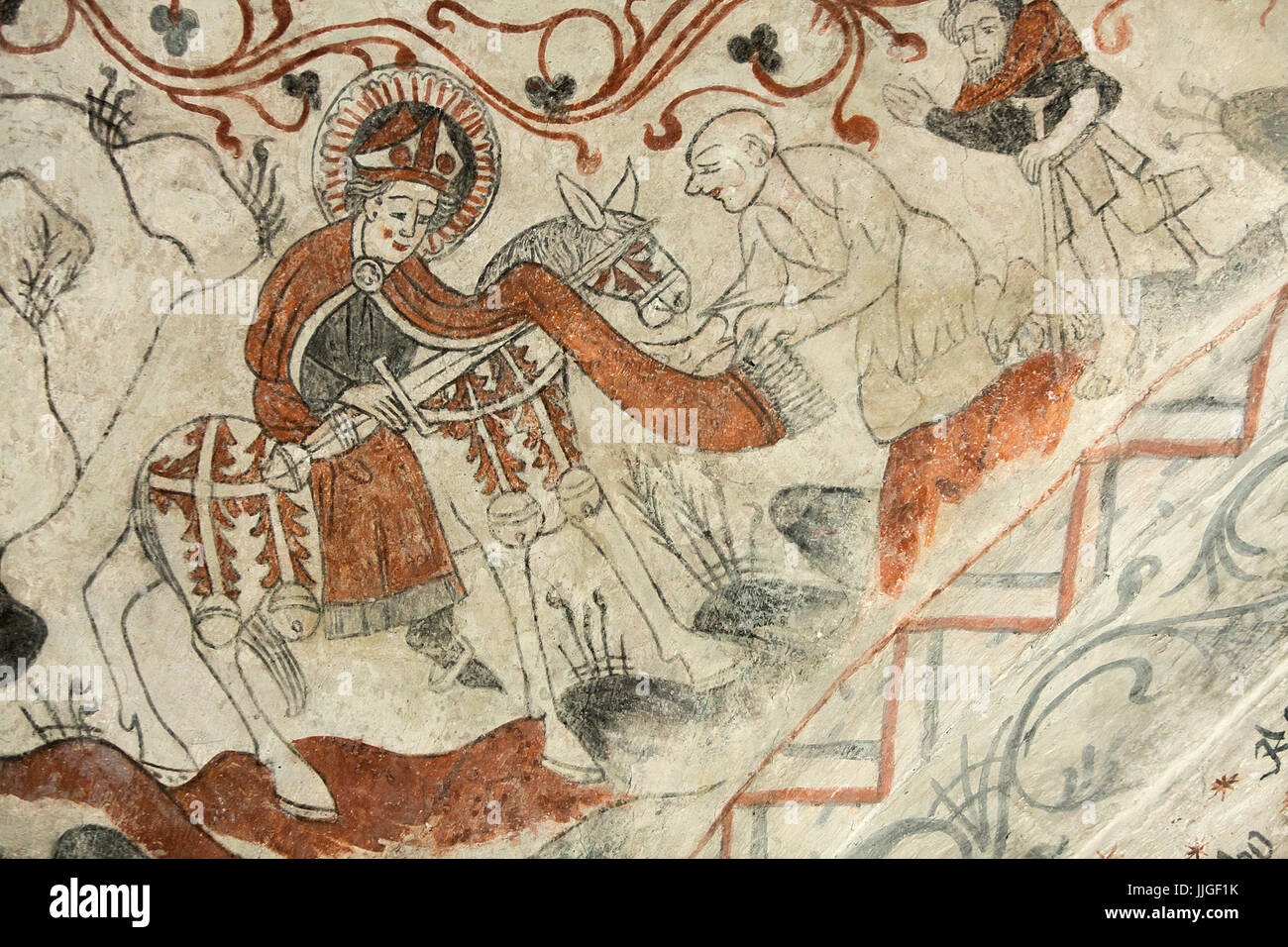 Danish medieval religious fresco in the 13th century Gothic style Tuse Church depicting Saint Martin of Tours  sharing Stock Photo