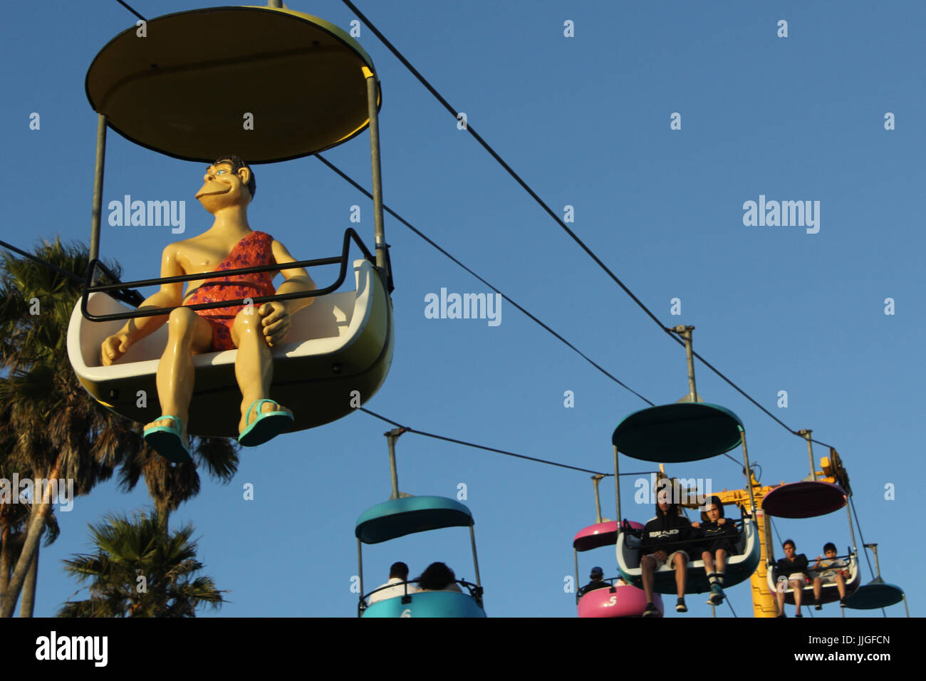 chair lift at santa cruz boardwalk - Stock Image