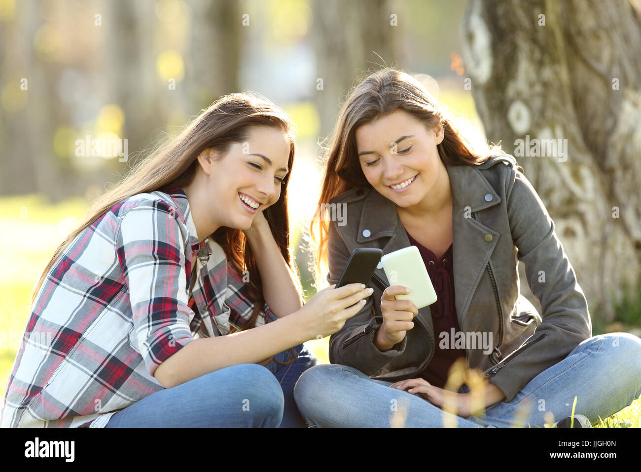 Two happy friends watching media content in their smart phones sitting on the grass in a park - Stock Image