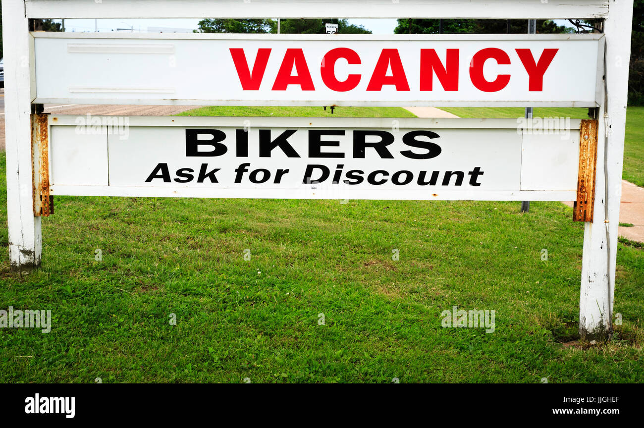 Motel vacancy sign in Summerside, Prince Edward Island where bikers are welcome - Stock Image