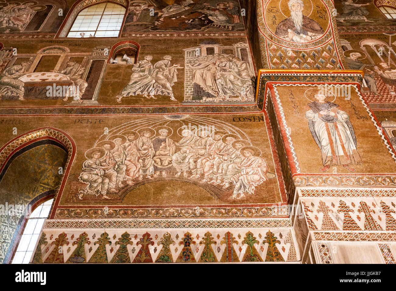 Pentecost mosaics in Monreale Cathedral, Duomo,  Monreale, Sicily, Italy - Stock Image