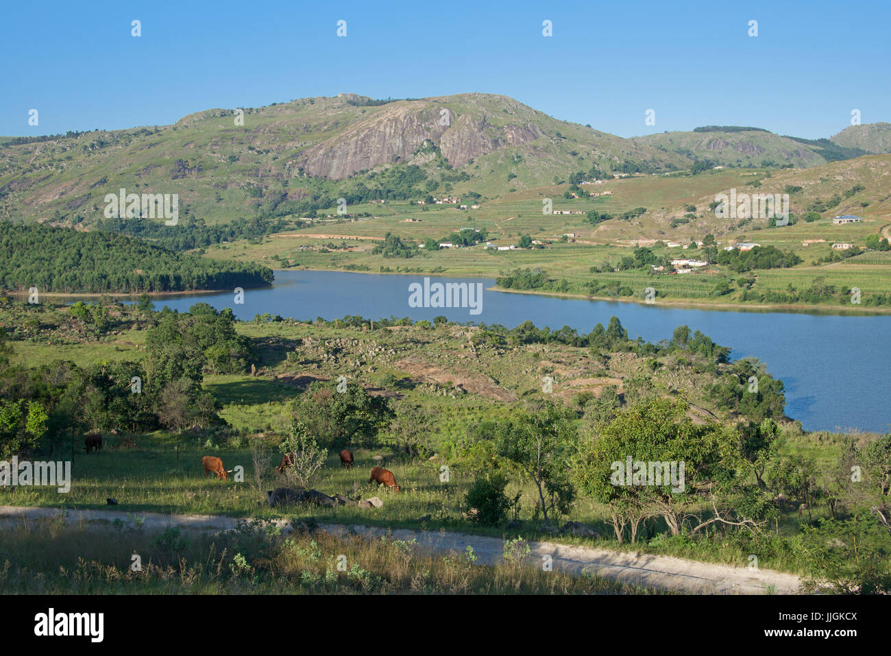 Landscape with Luphohle Lake Central Swaziland Southern Africa - Stock Image
