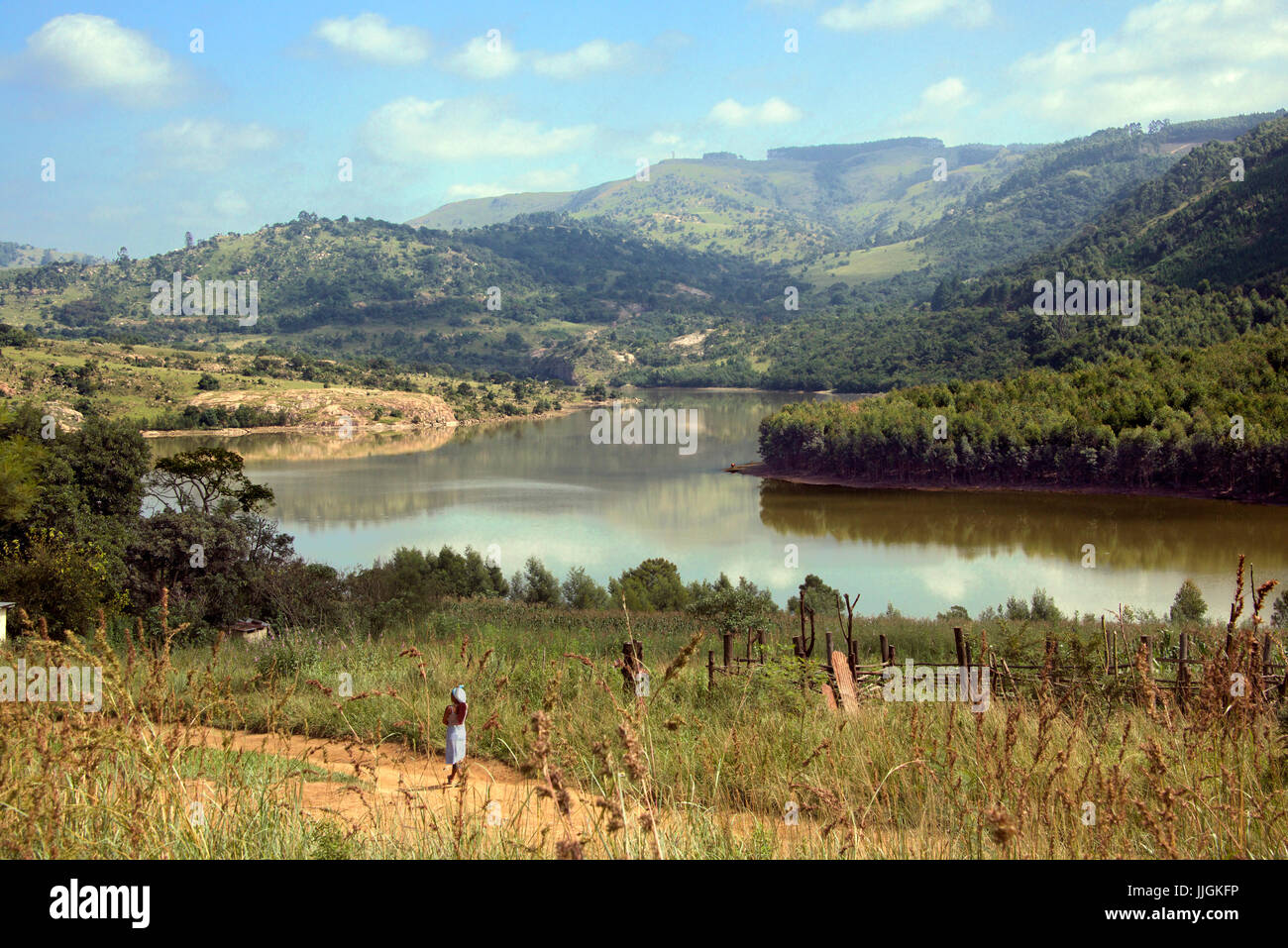 Panoramic view Lake Luphohle Elulwini Valley Central Swaziland Southern Africa - Stock Image