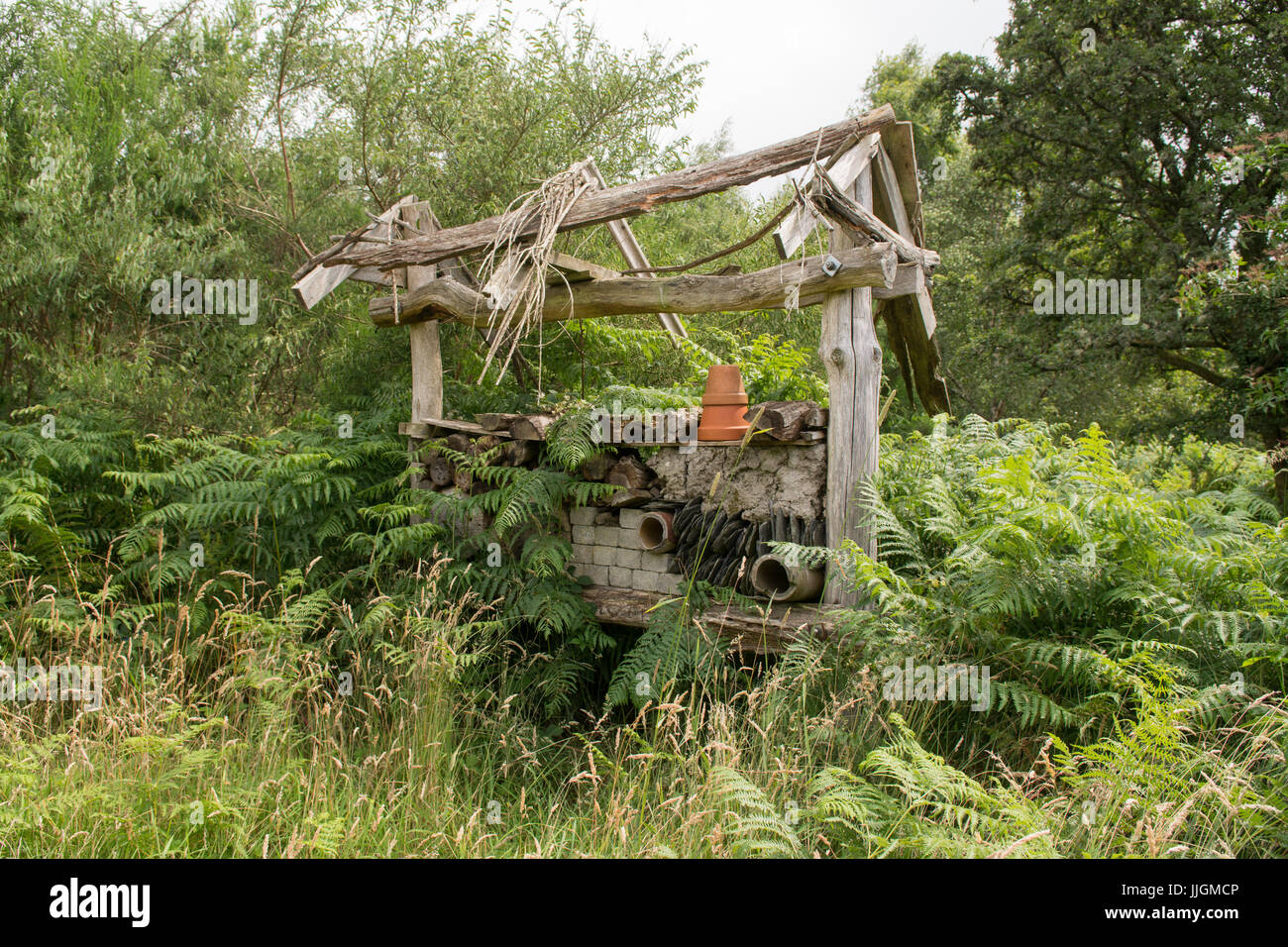 Insect Hotel at the Cashel Native Forest owned by the Royal Scottish  Forestry Society, Loch Lomond, Scotland, UK - Stock Image
