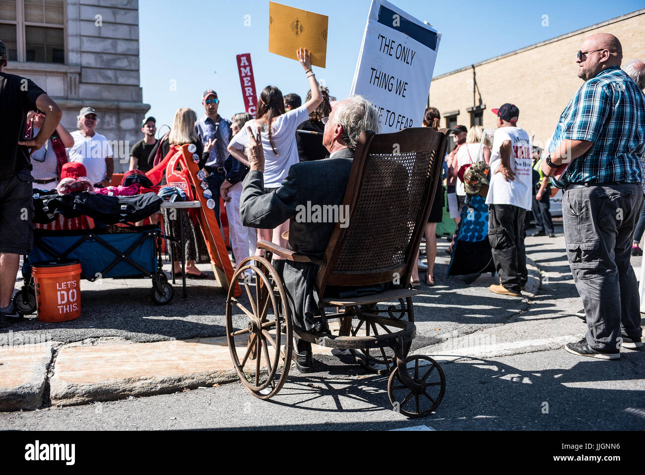 protestors, fake candidates, and vendors at the Trump rally in Portland, Maine on Aug 4, 2016 Stock Photo