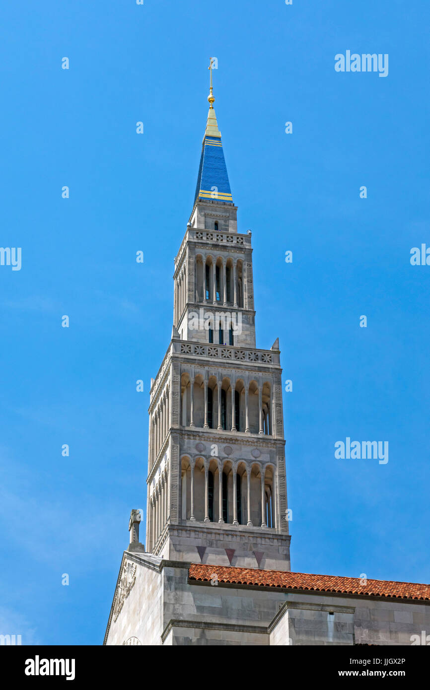 Washington, DC - The tower of the Basilica of the National Shrine of the Immaculate Conception. It is the largest Stock Photo