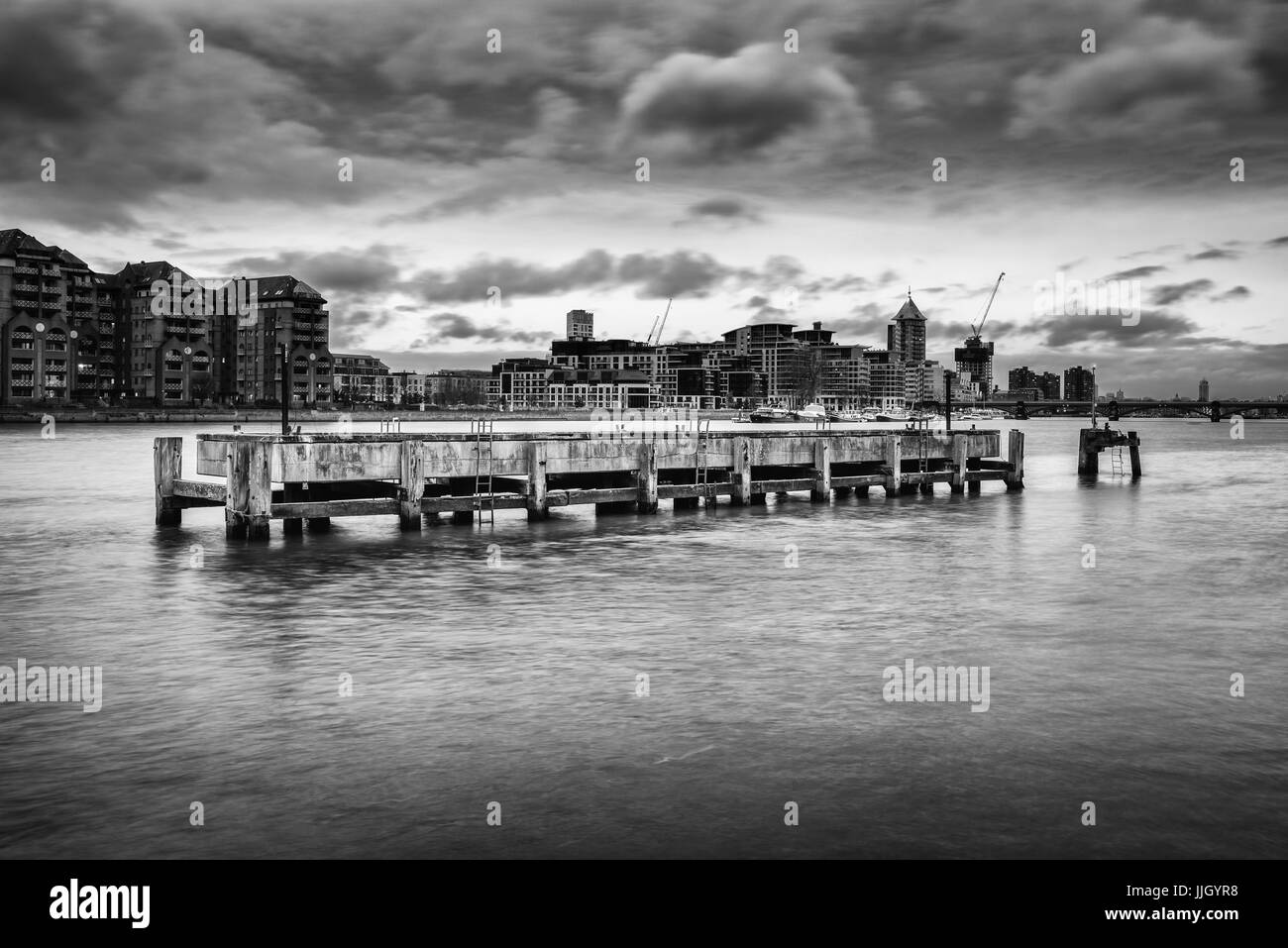 Disused Structure in River Thames (Black and White) - Stock Image