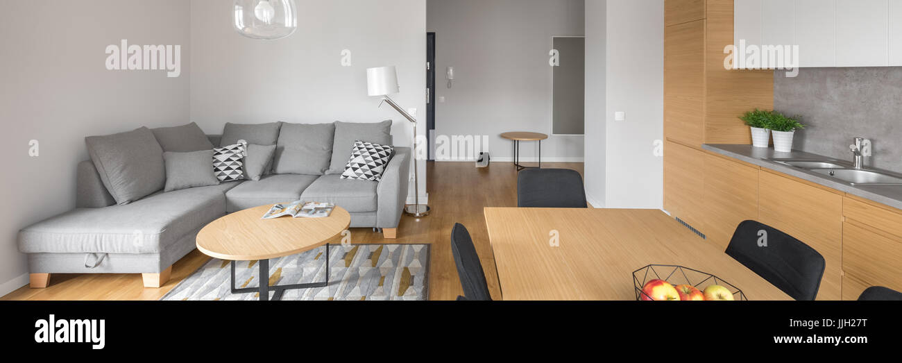 Modern open space living room with dining table and grey big ...