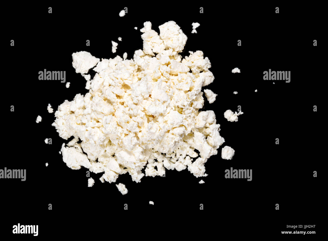 Homemade cottage cheese, top view - Stock Image