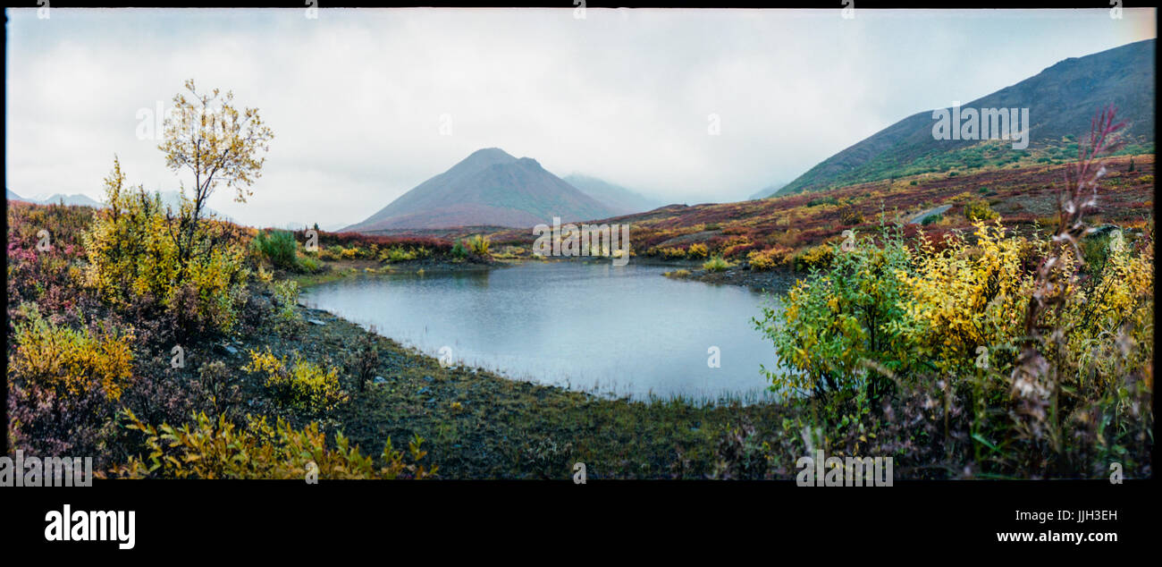 A utopian, prehistoric landscape view of a pond and mountains, located in remote Alaska. - Stock Image