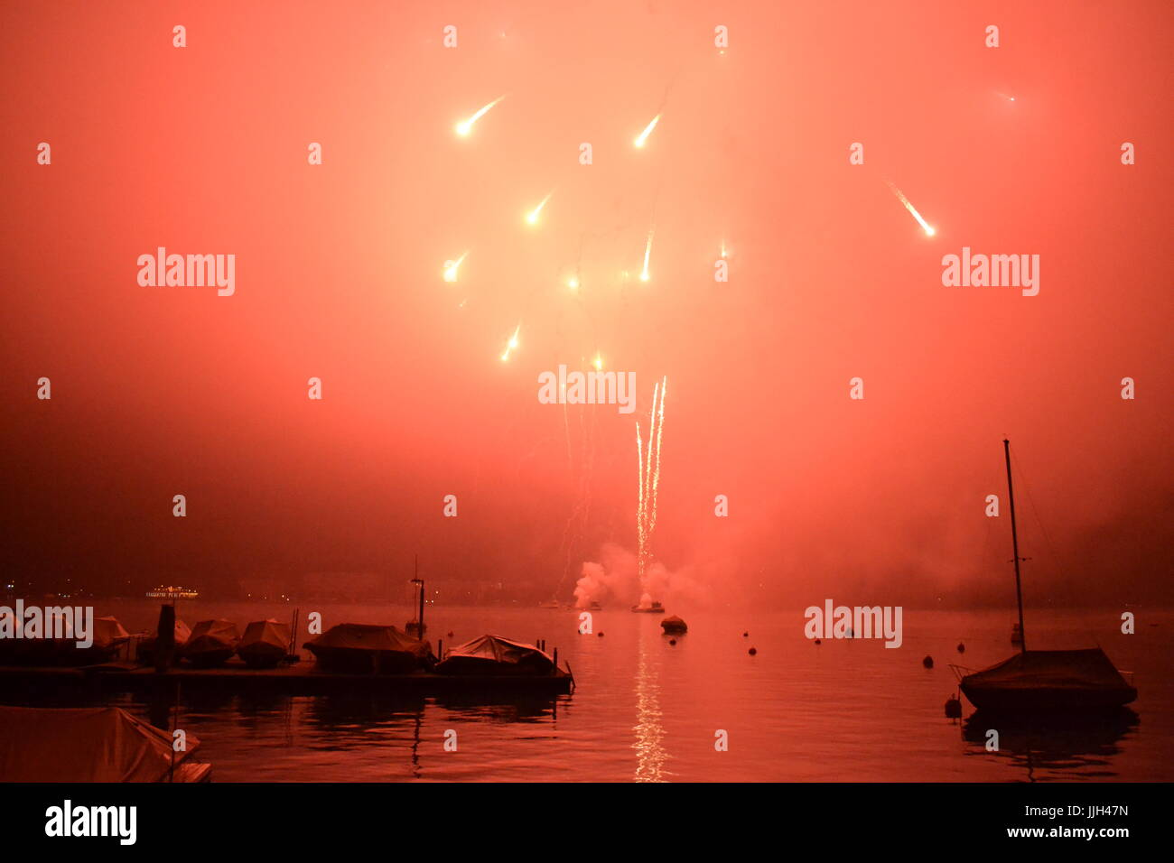 Fireworks in Zurich - New Year Stock Photo