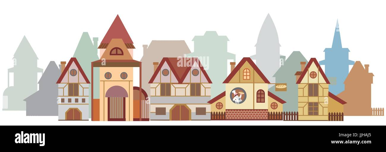 Panorama with colorful cartoon houses in European style isolated on white background - Stock Vector