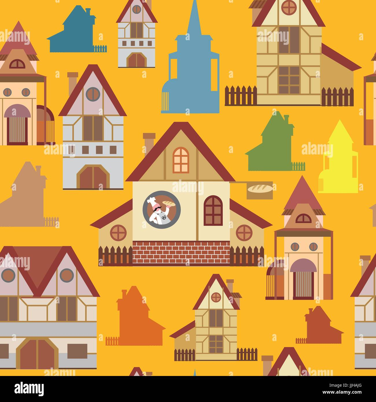 Seamless pattern with colorful cartoon houses in European style on yellow background - Stock Vector