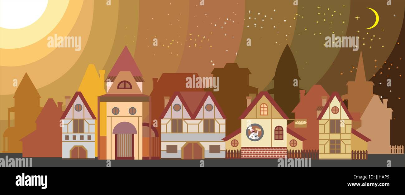 Background with colorful cartoon houses in European style isolated - Stock Vector
