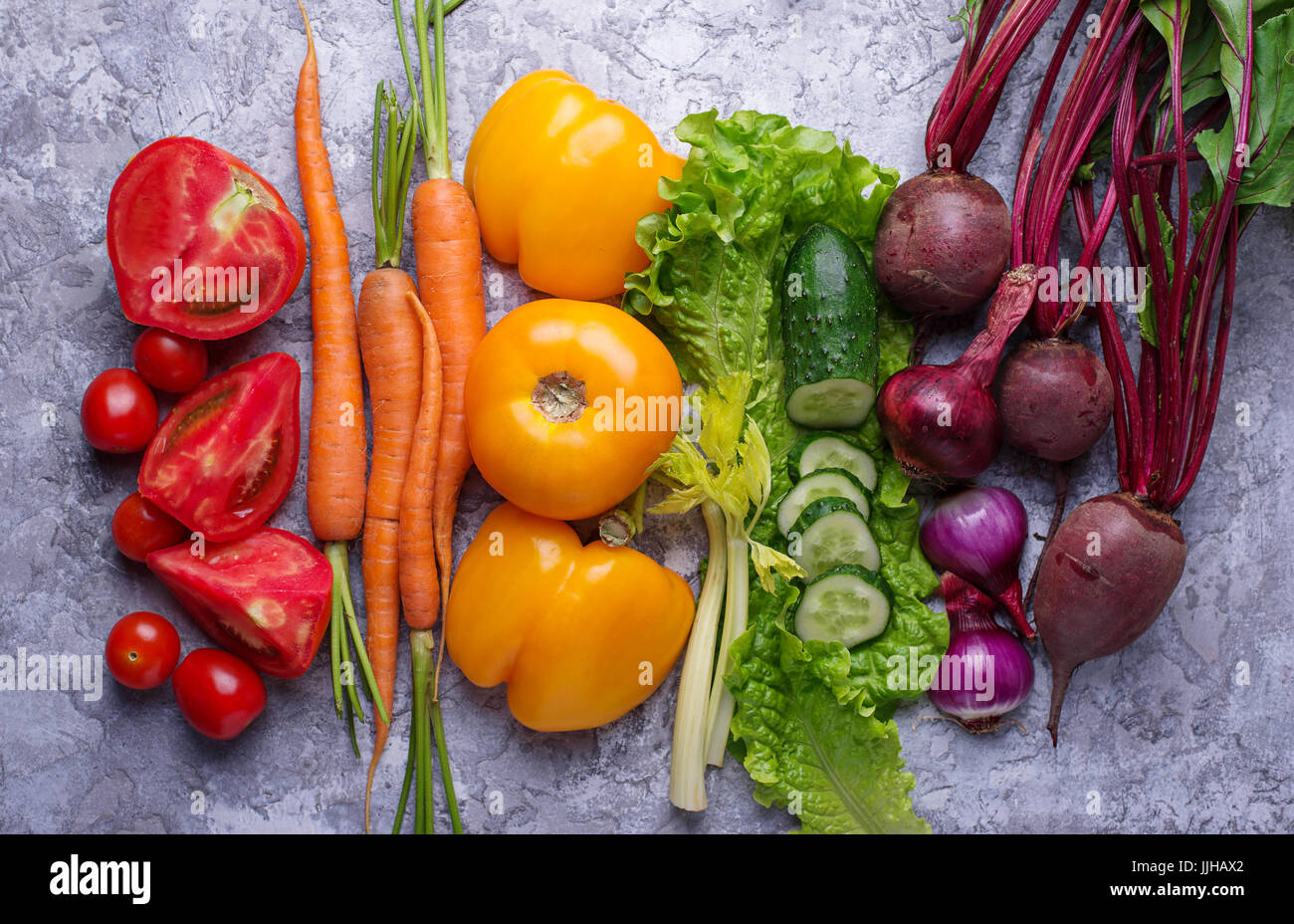 Rainbow colored vegetables. Healthy food concept. Top view - Stock Image