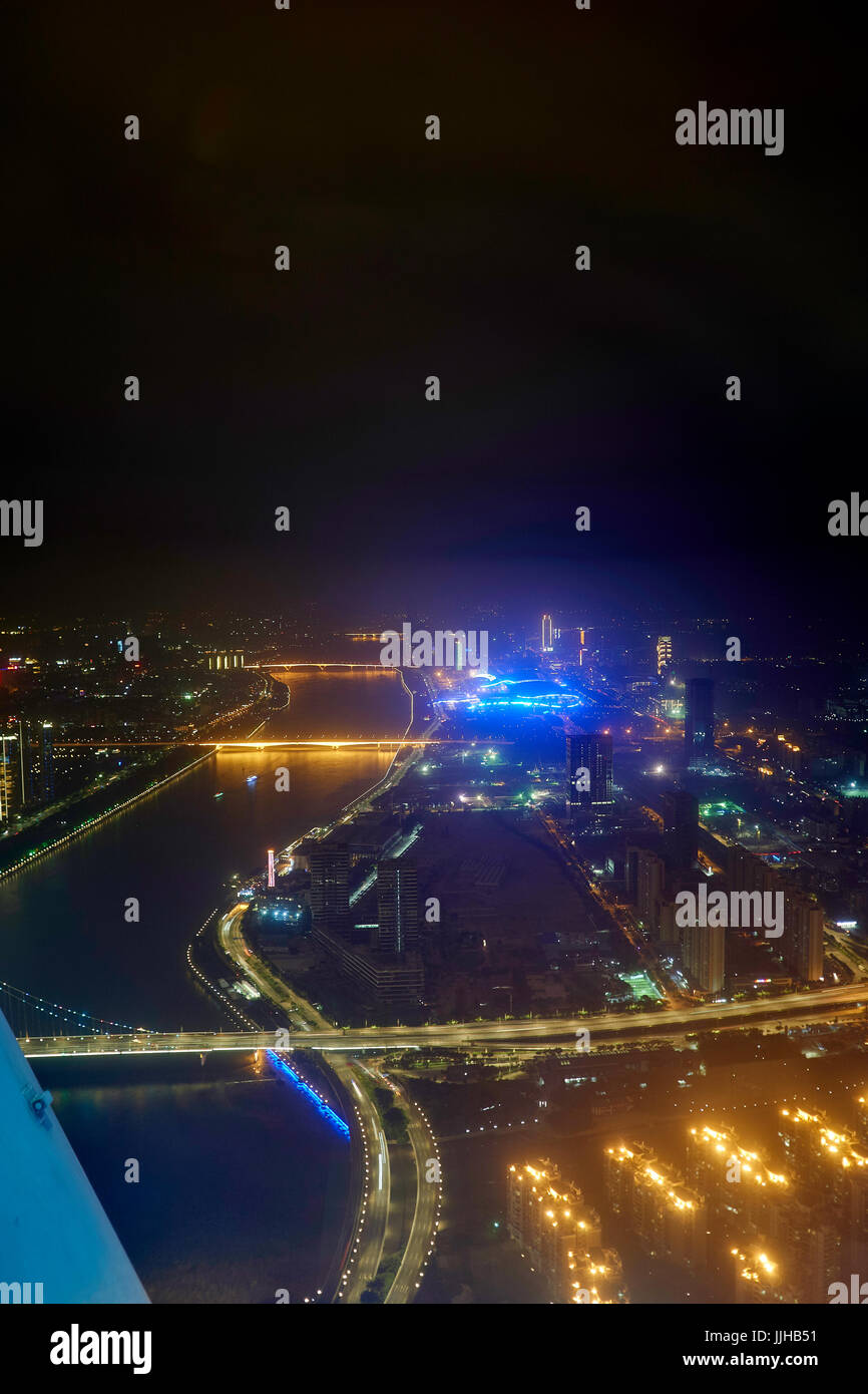 Night view from 600 m Canton Tower to the Pearl River, with bridges and lights - Stock Image