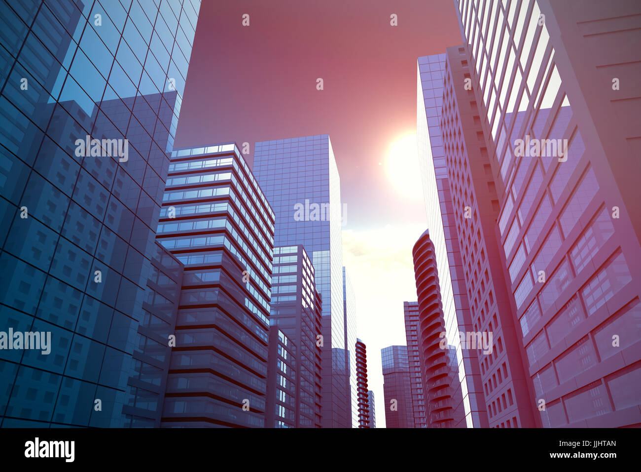Three dimensional image of modern city against scenic view of bright sun over white cloudscape - Stock Image