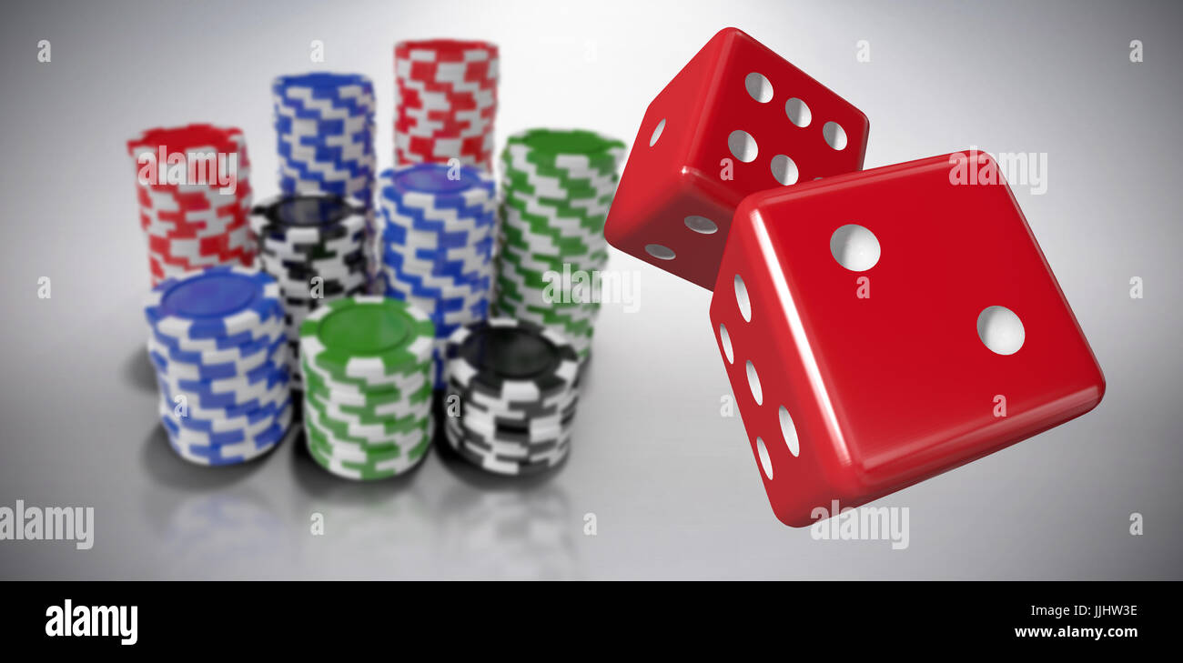 Digitally generated 3D image of red dice against grey background - Stock Image