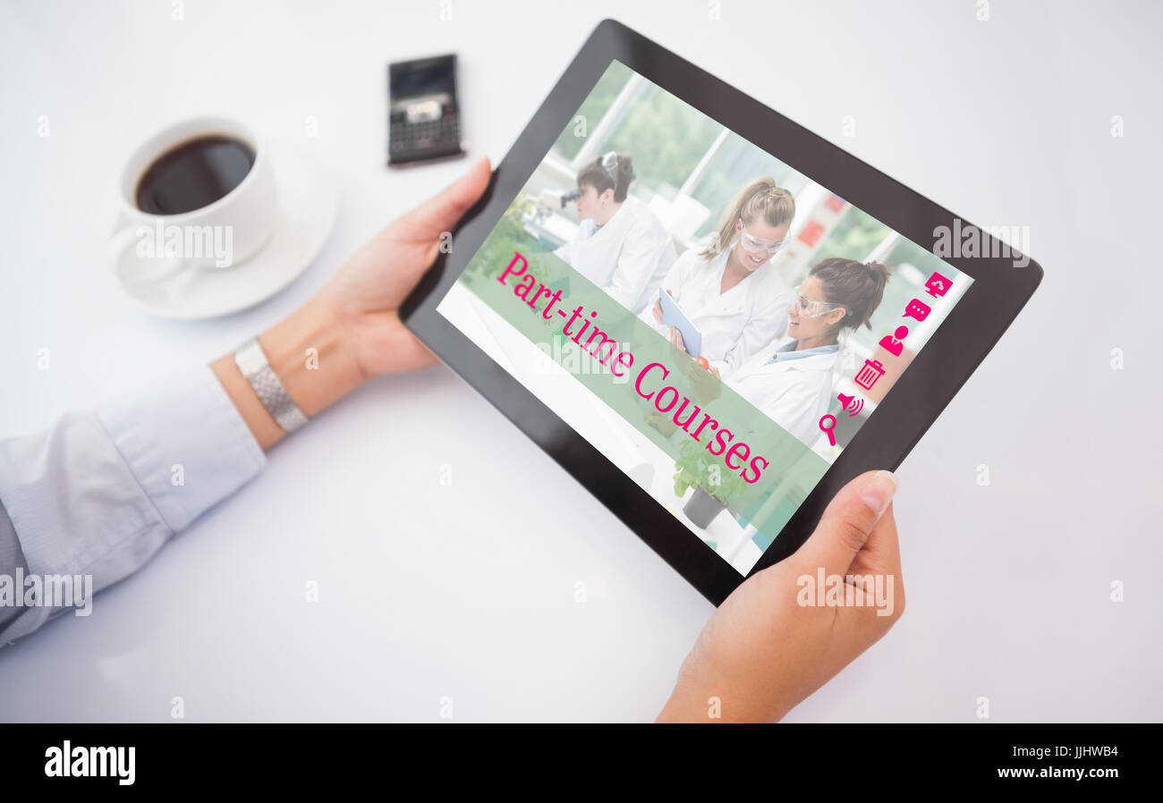 Man using tablet pc against composite image of part-time courses - Stock Image