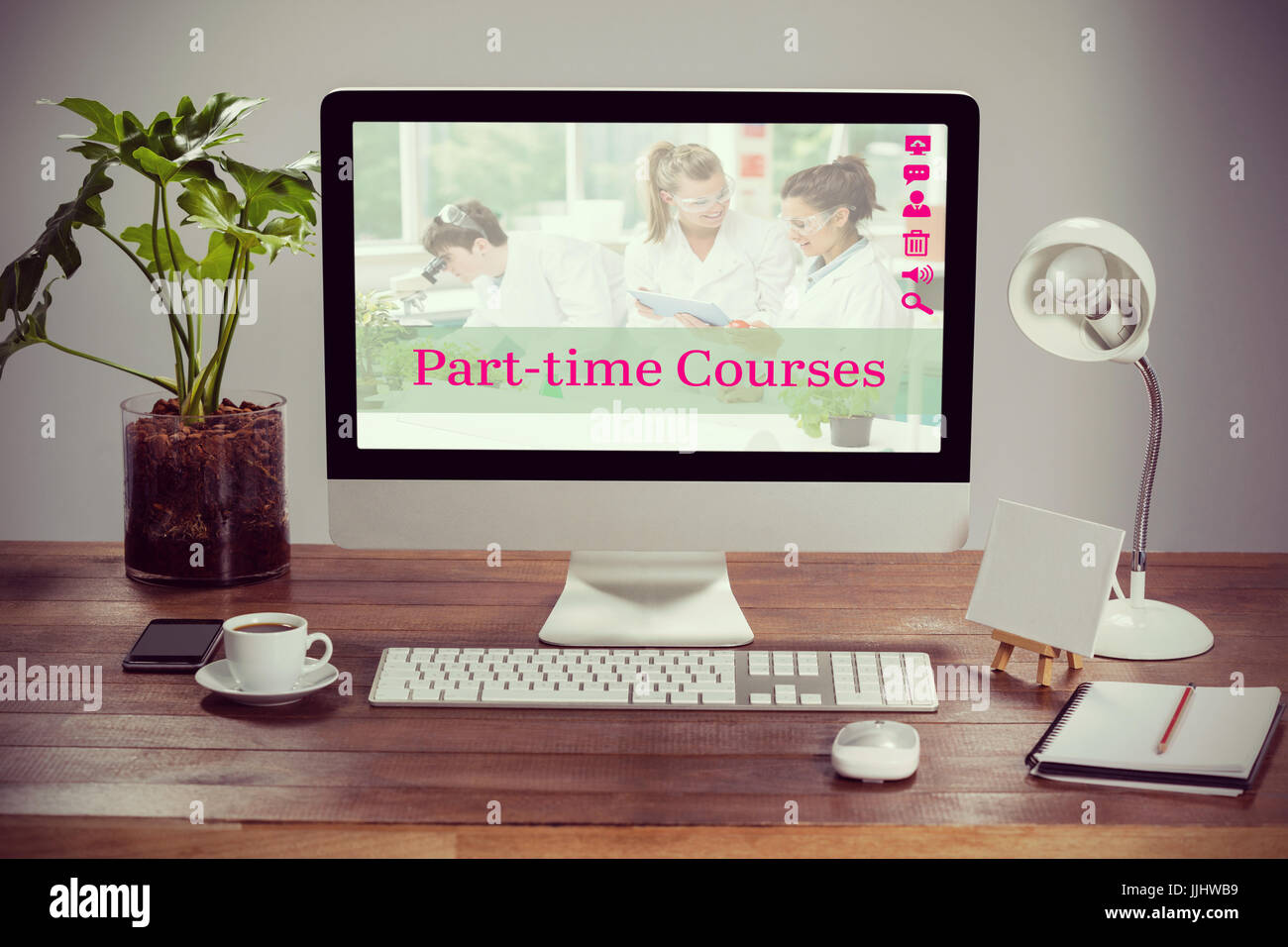 Composite image of part-time courses against computer with personal organizer and belongings - Stock Image